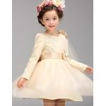 A-line Knee-length Flower Girl Dress - Cotton / Tulle / Polyester Long Sleeve Flower Girl Dresses