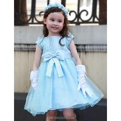 A Line Knee Length Flower Girl Dress Organza Satin Short Sleeve