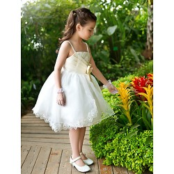 A Line Ball Gown Princess Ankle Length Flower Girl Dress Chiffon Lace Satin Tulle Sleeveless