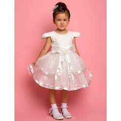 A Line Ball Gown Princess Ankle Length Flower Girl Dress Chiffon Lace Satin Tulle Short Sleeve