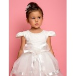 A-line/Ball Gown/Princess Ankle-length Flower Girl Dress - Chiffon/Lace/Satin/Tulle Short Sleeve Flower Girl Dresses