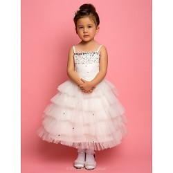 A Line Ball Gown Princess Knee Length Flower Girl Dress Chiffon Lace Satin Tulle Sleeveless