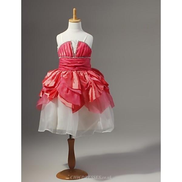 A-line/Ball Gown/Princess Knee-length Flower Girl Dress - Chiffon/Lace/Satin/Tulle Sleeveless Flower Girl Dresses