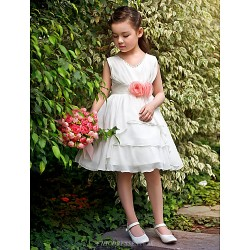 Ball Gown Princess Knee Length Flower Girl Dress Satin Tulle Sleeveless