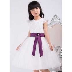 Formal Evening / Wedding Party Dress - White A-line Jewel Knee-length Satin / Tulle