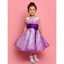A Line Ball Gown Princess Knee Length Flower Girl Dress Tulle Polyester Sleeveless