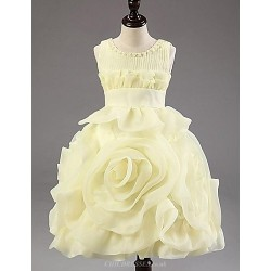 A-line/Princess Tea-length Flower Girl Dress - Chiffon/Polyester Sleeveless