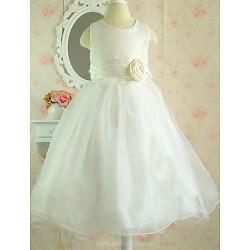 A Line Knee Length Flower Girl Dress Cotton Tulle Sleeveless