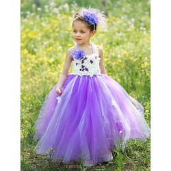 Ball Gown Floor Length Flower Girl Dress Silk Tulle Sleeveless