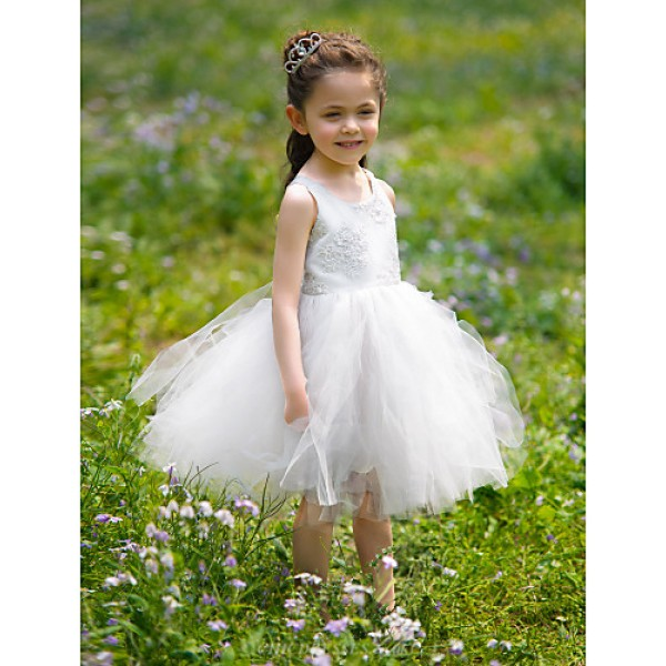 Engagement Party / Formal Evening / Graduation / Wedding Party / Vacation / Holiday Dress - White Ball Gown Jewel Knee-length Lace / Satin Flower Girl Dresses