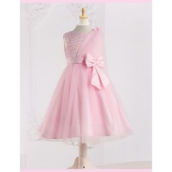 A Line Tea Length Flower Girl Dress Tulle Matte Satin Polyester Sleeveless