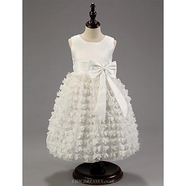Ball Gown Knee-length Flower Girl Dress - Cotton/Satin Sleeveless Flower Girl Dresses