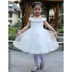 Ball Gown Knee Length Flower Girl Dress Satin Tulle Sleeveless