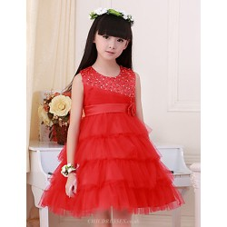 Flower Girl Dress Knee Length Satin Tulle Ball Gown Sleeveless Dress