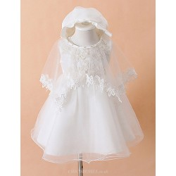 Hat+Clothing+Wedding Shawls 3P Ball Gown Knee Length Baby Flower Girl Dress Cotton Tulle Polyester Sleeveless