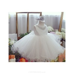 Ball Gown Knee-length Flower Girl Dress - Satin/Tulle Sleeveless