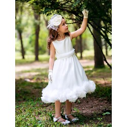 Princess Tea-length Flower Girl Dress - Silk
