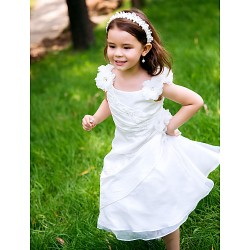 A Line Ankle Length Flower Girl Dress Polyester