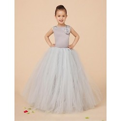 Flower Girl Dress Floor Length Satin Tulle Ball Gown Sleeveless Dress(Corsage Include)