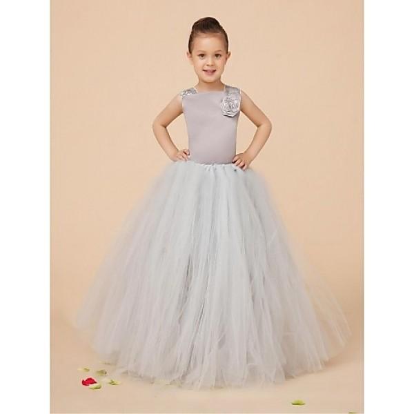Flower Girl Dress Floor-length Satin/Tulle Ball Gown Sleeveless Dress(Corsage Include) Flower Girl Dresses