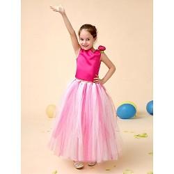 Flower Girl Dress Floor Length Satin Tulle Ball Gown Sleeveless Dress