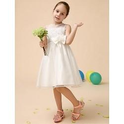 Flower Girl Dress Tea Length Satin Tulle Ball Gown Sleeveless Dress(Headpiece Not Include)