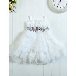 Flower Girl Dress Tea Length Satin Tulle A Line Sleeveless Dress