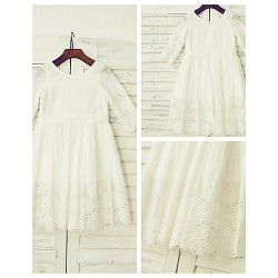 A-line Knee-length Flower Girl Dress - Cotton / Lace 3/4 Length Sleeve