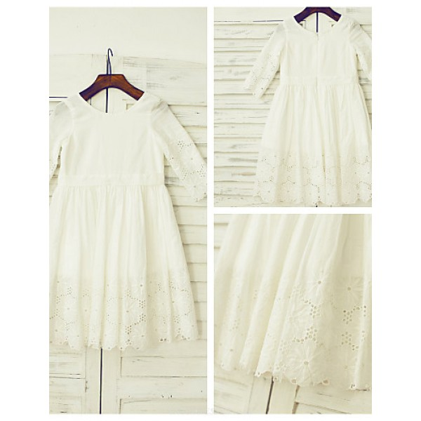 A-line Knee-length Flower Girl Dress - Cotton / Lace 3/4 Length Sleeve Flower Girl Dresses