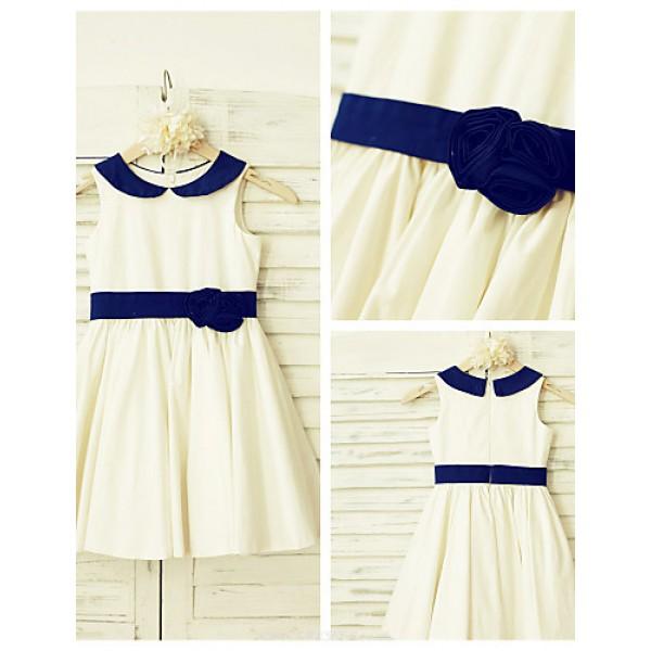 A-line Knee-length Flower Girl Dress - Cotton Sleeveless Flower Girl Dresses