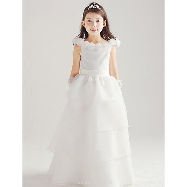 A-line Floor-length Flower Girl Dress - Cotton/Organza Sleeveless Flower Girl Dresses
