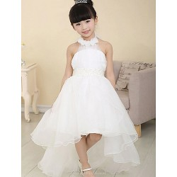 A line Asymmetrical Flower Girl Dress Cotton Organza Sleeveless