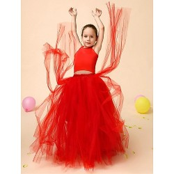 Flower Girl Dress Floor Length Satin Tulle Ball Gown Sleeveless Dress