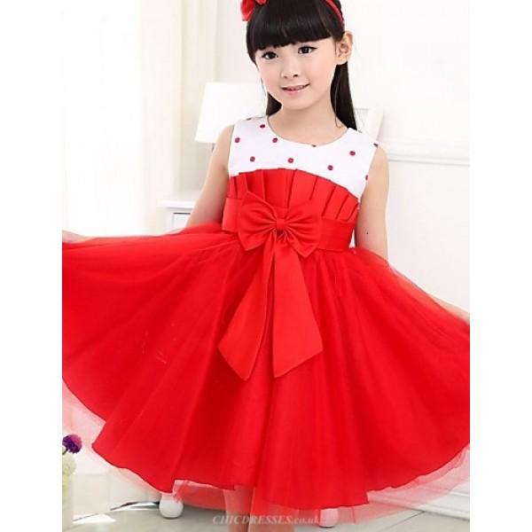 A-line Tea-length Flower Girl Dress - Satin/Tulle Sleeveless Flower Girl Dresses