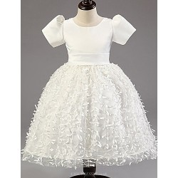 Princess Tea Length Flower Girl Dress Satin Tulle Short Sleeve