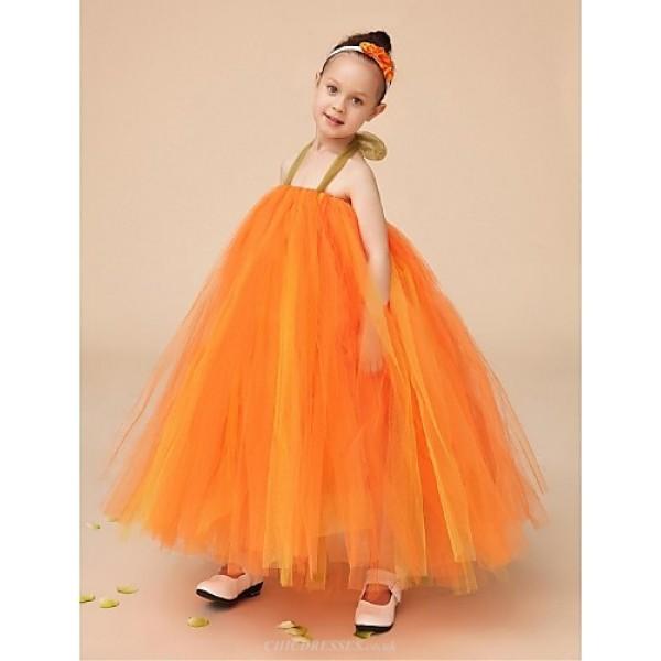 Flower Girl Dress Floor-length Tulle Ball Gown Sleeveless Dress(Headpiece Not Include) Flower Girl Dresses