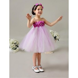 Flower Girl Dress Knee Length Tulle Ball Gown Sleeveless Dress(Headpiece include)