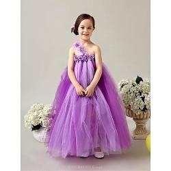 Flower Girl Dress Tea-length Tulle A-line Sleeveless Dress