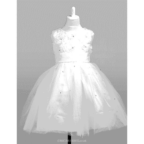 Engagement Party / Bridal Shower / Formal Evening / Wedding Party Dress - Ivory A-line / Ball Gown / Princess Jewel Knee-lengthSatin / Flower Girl Dresses