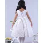 Engagement Party / Bridal Shower / Formal Evening / Wedding Party Dress - White Ball Gown / Princess Jewel Knee-length Lace / Satin Flower Girl Dresses