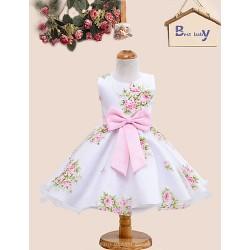 A Line Knee Length Flower Girl Dress Satin Tulle Sleeveless
