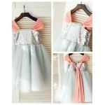 Princess Knee-length Flower Girl Dress - Tulle/Sequined Short Sleeve Flower Girl Dresses