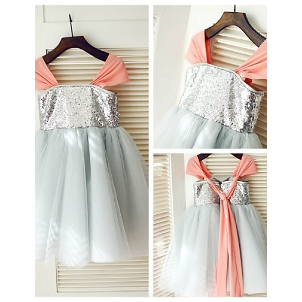 Princess Knee-length Flower Girl Dress - Tulle/Sequined Short Sleeve Flower Girl Dresses
