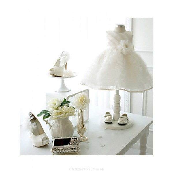 Ball Gown Knee-length Flower Girl Dress - Lace/Organza Sleeveless Flower Girl Dresses