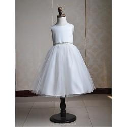 Ball Gown Tea Length Flower Girl Dress Satin Tulle Sleeveless(Belt Include)