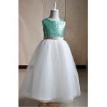 Flower Girl Dress Floor-length Silk/Tulle/Sequined A-line Sleeveless Dress Flower Girl Dresses