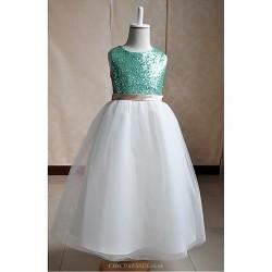 Flower Girl Dress Floor-length Silk/Tulle/Sequined A-line Sleeveless Dress