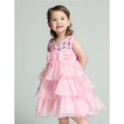 A-line Knee-length Flower Girl Dress - Organza / Satin Sleeveless