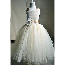Flower Girl Dress Floor Length Silk A Line Sleeveless Dress
