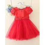 A Line Knee Length Flower Girl Dress Satin Tulle Short Sleeve